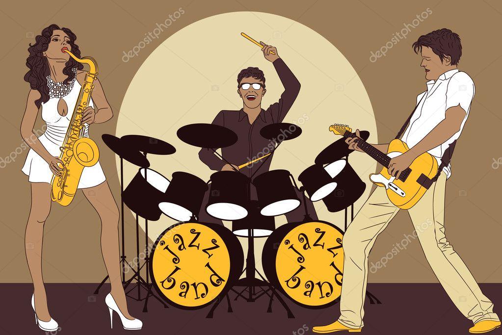 Cartoon Jazz Band Background With Jazz Band on