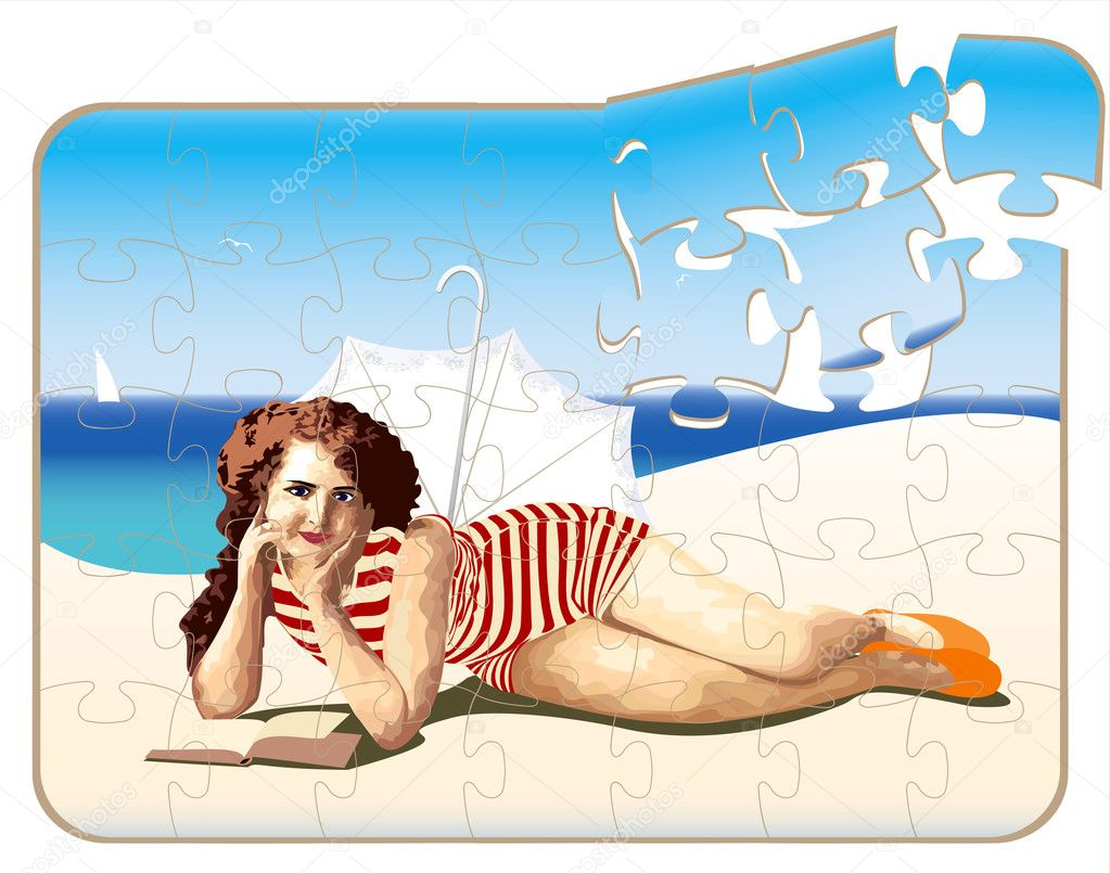 Retro puzzle with a beautiful girl on the beach - vector illustration — Stock Vector #3298148