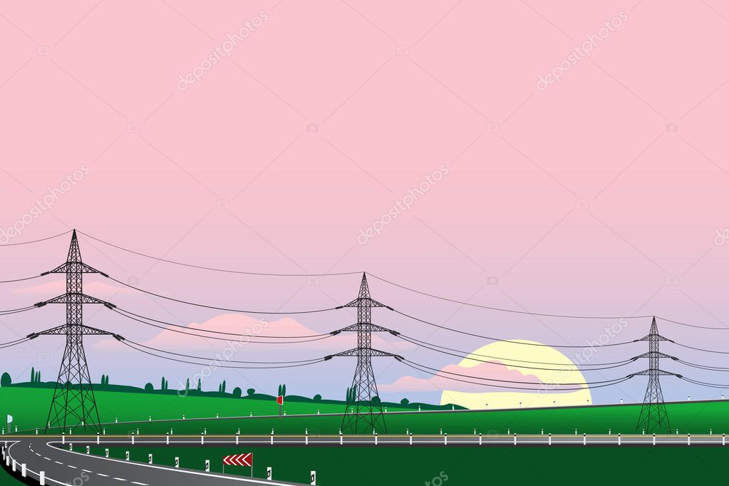 Background with power transmission towers along the highway - vector illustration — Stock Vector #3298156