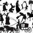Old-fashioned silhouettes - Stock Vector