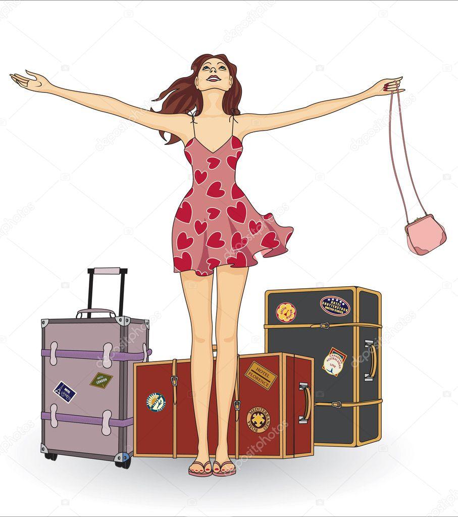 行李箱的女孩 — 矢量图片作者 mikhaylova