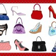 Ladies bags and shoes — Stock Vector