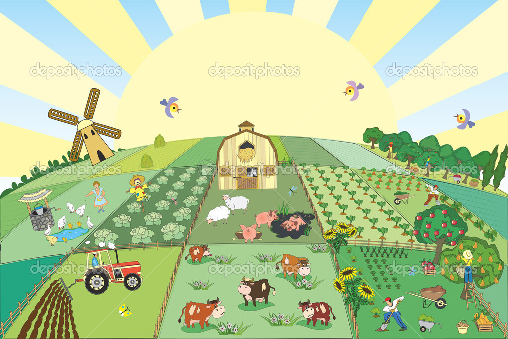 Vector illustration of farm — Stock Vector #3578869