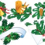 collezione evergreen e agrifoglio — Vettoriale Stock