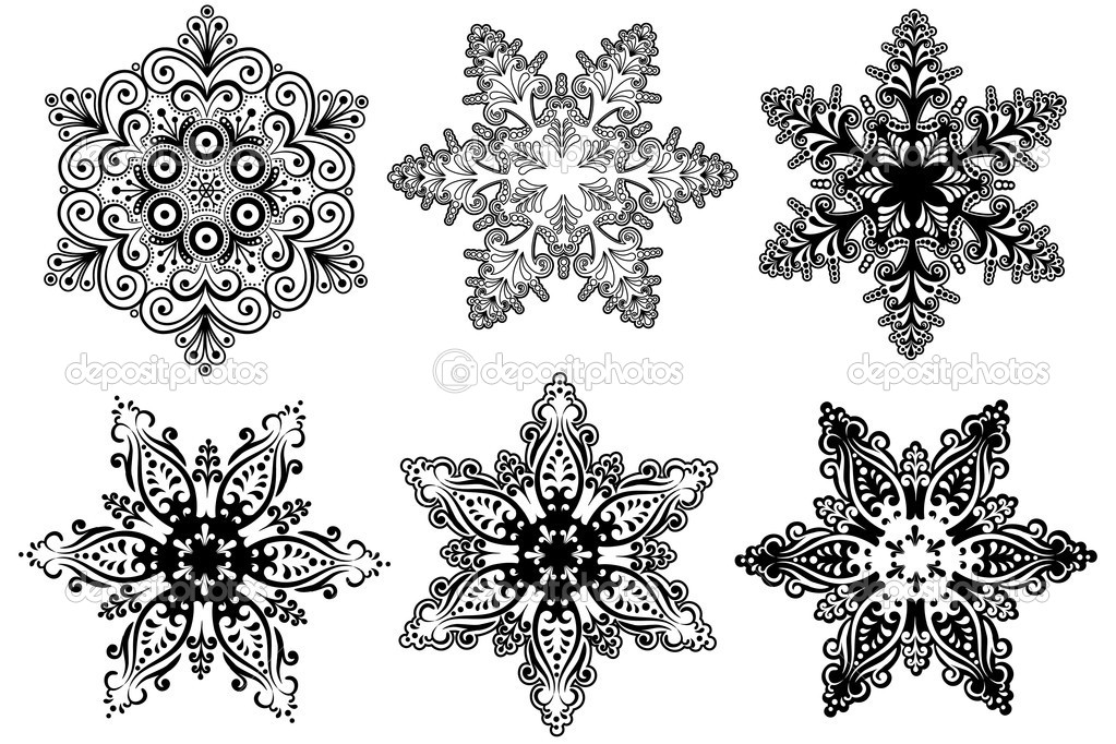 Vector snowflakes collection  Vettoriali Stock  #3731929