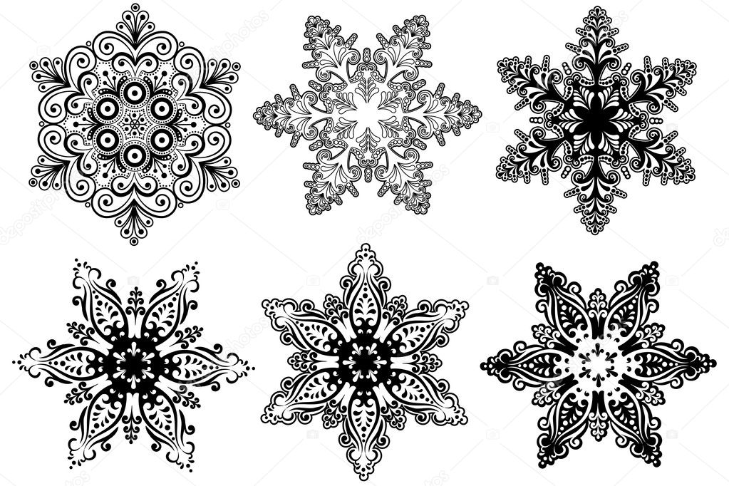 Vector snowflakes collection  Stok Vektr #3731929