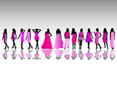 Fashion silhouettes — Vector de stock