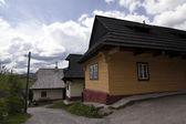Old farmer's wooden house in slovakian village — Stock Photo