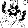 Flower  black a white pattern — Stock Vector