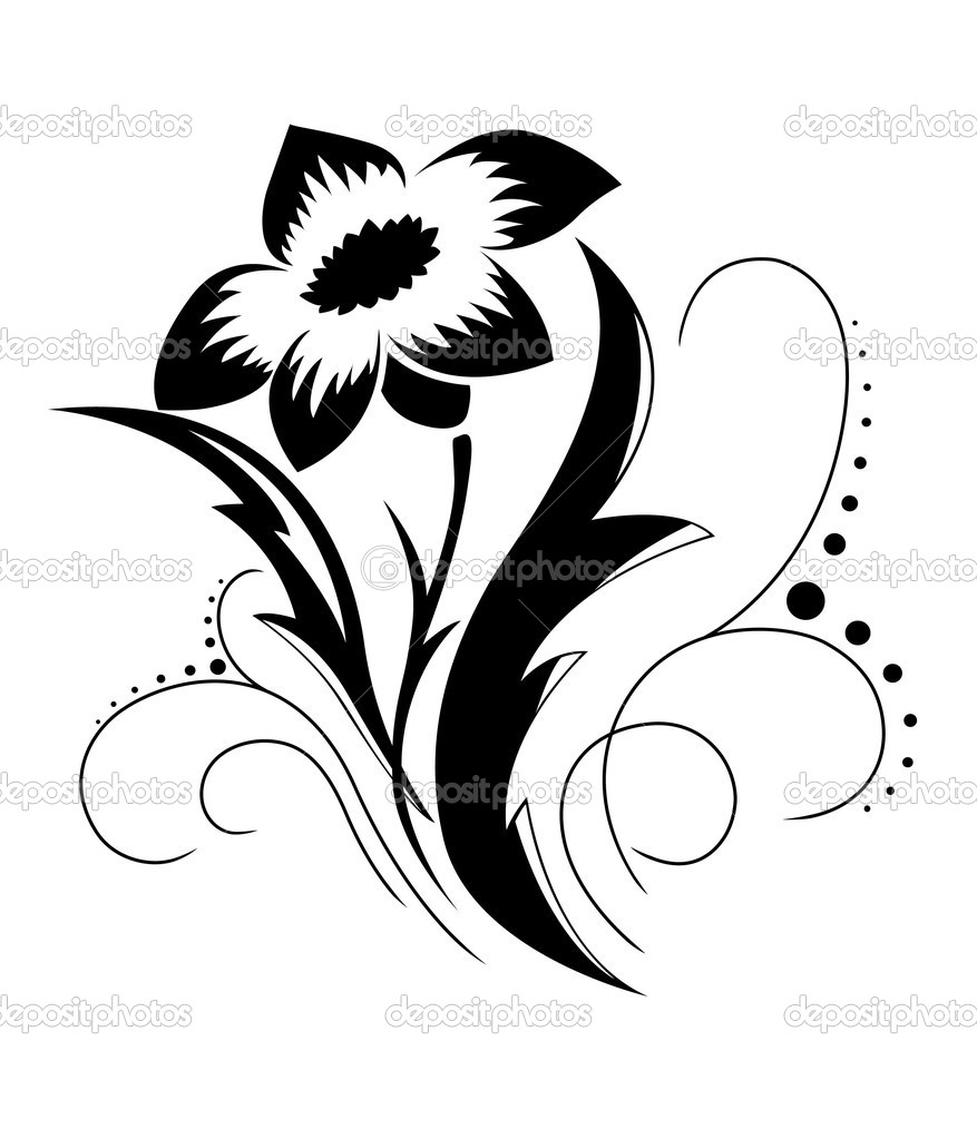 Black Flower Pattern Silhouette Stock Illustration: Stock Vector © MariStep