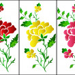 Stock Vector: Flower pattern vertical, rose, tattoo