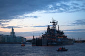 Battleship in Neva river — Stock Photo