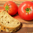 Piece of bread with tomatoes — Stock Photo