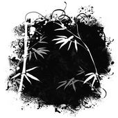 Grunge background with bamboo branches — Stock Photo