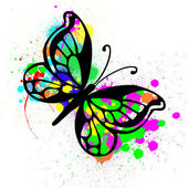 Butterfly from color splashes — Stock Photo