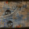 Grungy jeans background - Stock Photo