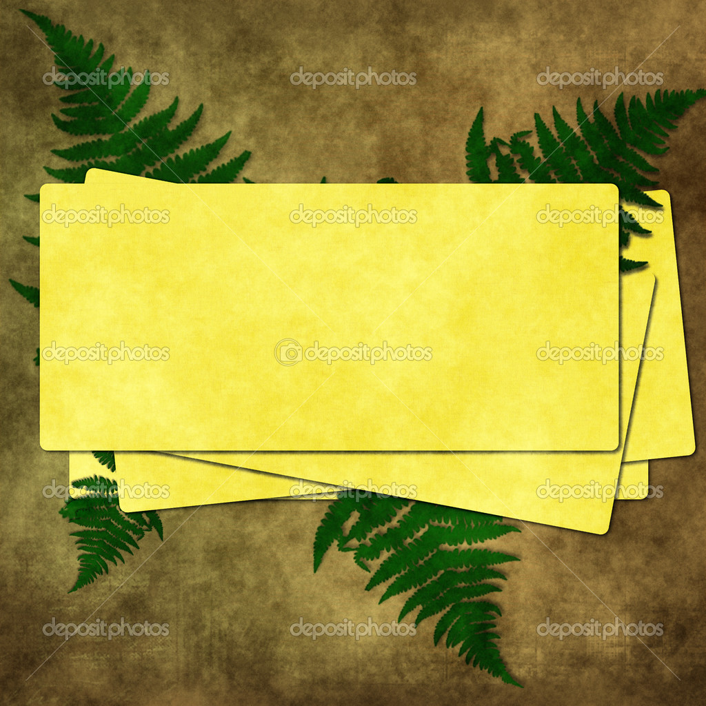 Grunge paper for congratulation with leaf .Old paper on textured background — Stock Photo #3855993