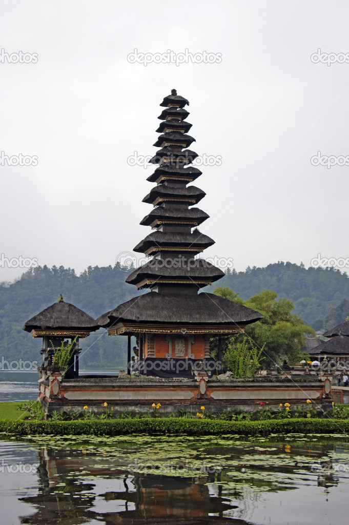 Temple of Bratan located on lake Bratan near a volcano of Bratan. Bali.  Stock Photo #3426235