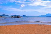 The sea of coast of peninsula Santubong. Borneo. — Stock Photo