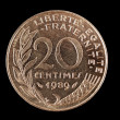 Stock Photo: Vintage French Franc coin