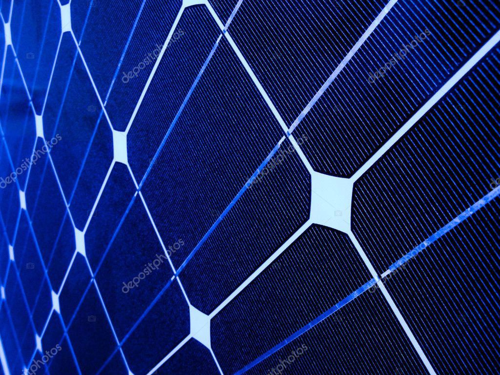Closeup of a blue photovoltaic solar cell — Stock Photo #2857112