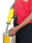 Man filling a gasoline container — Stock Photo