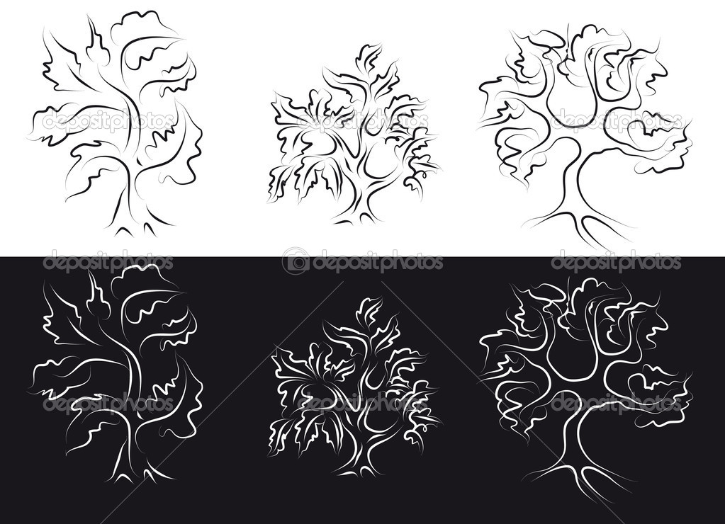 Outline of stylized trees on a white and black background — Stock Vector #2894197