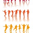 Stock Vector: Silhouettes of dancing
