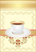 Cup with coffee on the ornament — Vector de stock