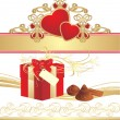 Candies, box and hearts on the ornament — Stock Vector