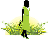 Female silhouette among grass. Spring — Stock Vector