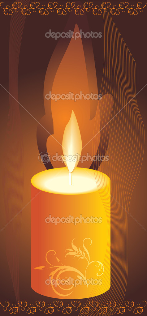 Burning yellow candle. Vector illustration — Stock Vector #2749090