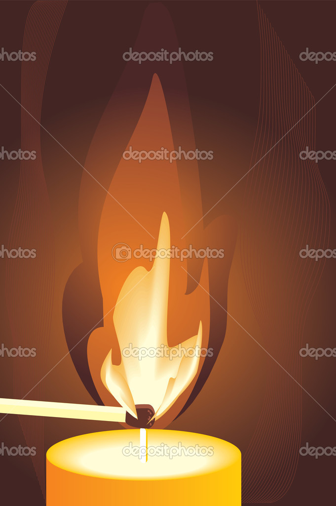 Burning match and candle. Fragment. Vector illustration — Stock Vector #2749124