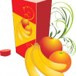 Vector de stock : Fruits and packing with juice