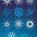 samling av snöflingor — Stockvektor