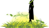 Female silhouette with sprig among grass — Stock Vector