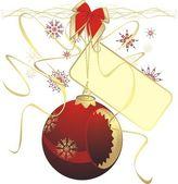 Röd jul boll med klistermärke — Stockvektor