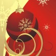 Vector de stock : Christmas ball and snowflakes. Card