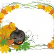 Royalty-Free Stock Vector Image: Leaves and pumpkin. Halloween