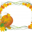 Royalty-Free Stock Vector Image: Leaves and pumpkin. Autumn composition