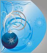 Bola de navidad y copos de nieve — Vector de stock