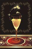 玻璃的香槟。卡 — 图库矢量图片