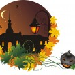 Stock Vector: Halloween. Nightly city
