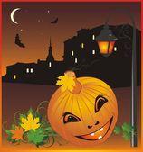 Halloween. Nightly city — Stock Vector