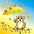 Stock Vector: Bruin with umbrella. Autumn composition