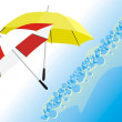 Two umbrellas and wave — Stock Vector