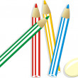 Elastic and set of colorful pencils — Stock Vector #2787320