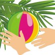Hands, ball and branch of palm — Vector de stock
