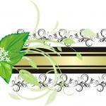 Mint sprig. Decorative banner — Stock Vector