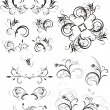 Collection of floral ornaments — Vector de stock